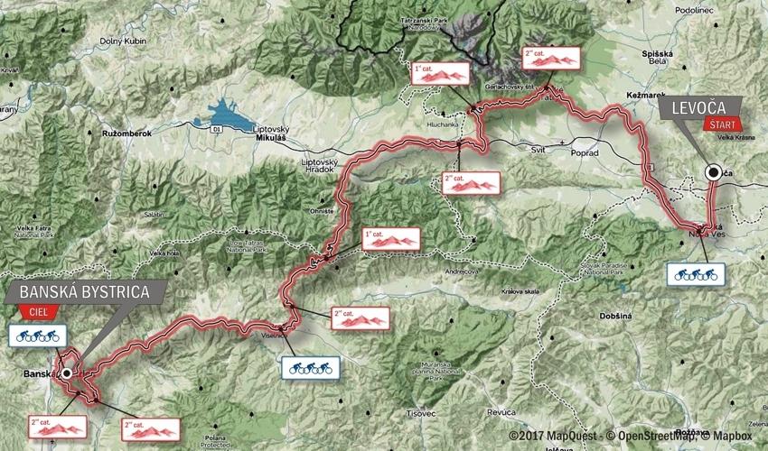 Giro di Slovacchia 2017 Tappa 1 LEVOČA - BANSKÁ BYSTRICA planimetria